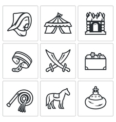 Mongol-Tatar yoke icons set vector image