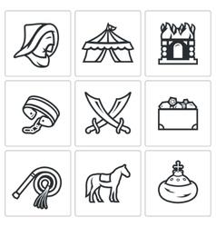 Mongol-tatar yoke icons set vector
