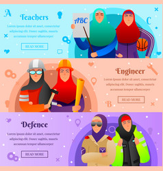 Muslim women professions flat banners vector