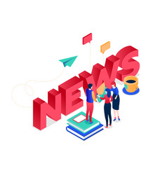 news concept - modern colorful isometric vector image