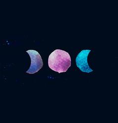 Occult symbol triple moon isolated on dark vector