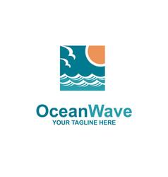 ocean waves emblem vector image