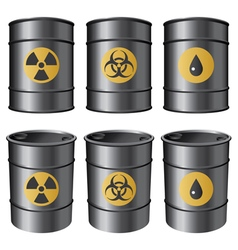 Oil barrels set vector