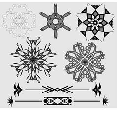 ornamental design elements black and grey vector image