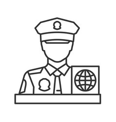 Passport control officer linear icon vector