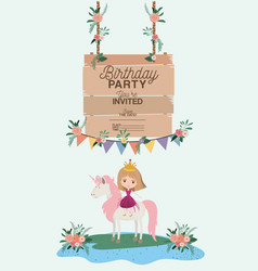 Princess with unicorn and label wooden invitation vector