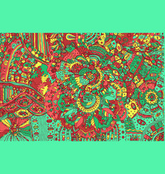 Psychedelic colorful doodle background hand drawn vector