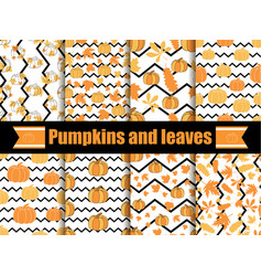 Pumpkins and leaves seamless pattern with zig zag vector
