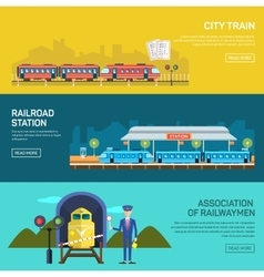 Railway design concept set with train station vector image