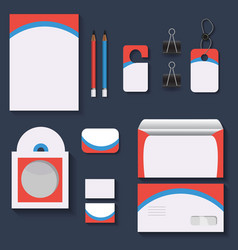Red and blue mock upstemplates for business vector
