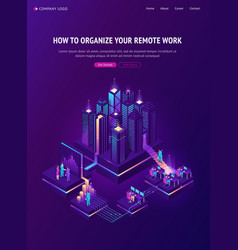 remote work isometric landing global outsourcing vector image