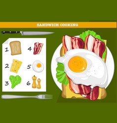 Sandwich cooking infographic vector