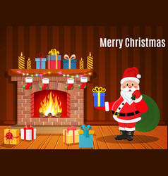 santa claus in christmas room interior vector image