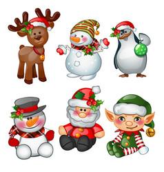 santa claus reindeer snowman penguin santas vector image