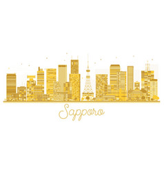 Sapporo japan city skyline golden silhouette vector