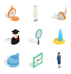 satellite icons set isometric style vector image