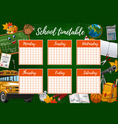 School timetable week schedule study supplies vector