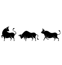 set bulls cows buffaloes stylized silhouettes vector image