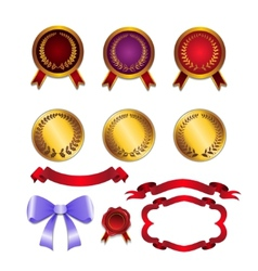 set for design ribbons medals vector image