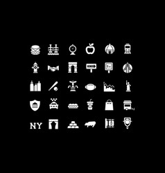 set simple icons new york vector image