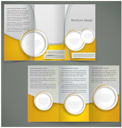 Silver brochure layout design with yellow vector