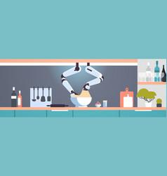 smart handy chef robot making dough in bowl vector image