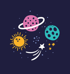 space bright concept beautiful planets and stars vector image