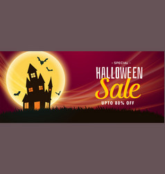 Spooky halloween sale banner with haunted house vector