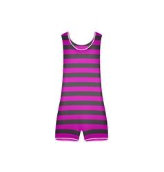 Striped retro swimsuit in purple and black design vector