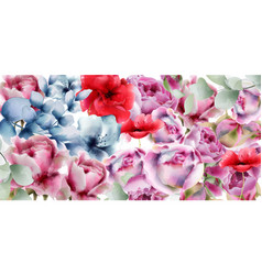 Summer flowers watercolor floral decor backgrounds vector