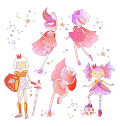 Superhero princess little teen girl as a vector