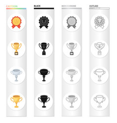 Trophy prize meed and other web icon in cartoon vector