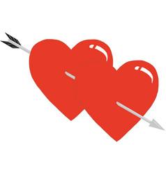two hearts pierced an arrow hearts and arrow vector image