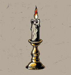Vintage colorful burning candle in candlestick vector