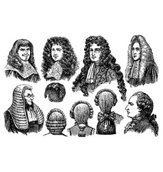 Vintage engraving men earing wigs vector