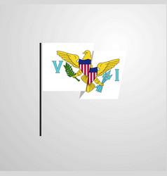 Virgin islands us waving flag design background vector