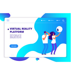 virtual augmented reality people with mobile vector image