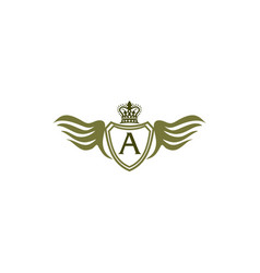 Wing shield crown initial a vector