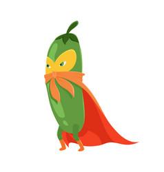 With cartoon flat cucumber vector