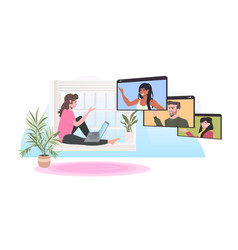 woman sitting on windowsill chatting with mix race vector image