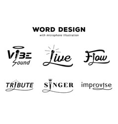Word design with microphone vector