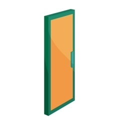 Yellow door icon cartoon style vector
