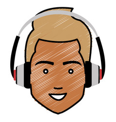 young man head with earphones avatar character vector image