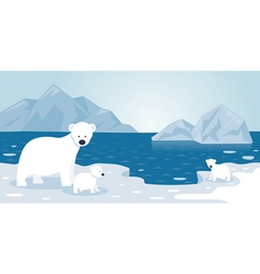 Arctic Polar Bear Iceberg Scene Mother and baby vector image vector image