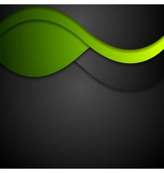 Black and green waves abstract background vector image vector image