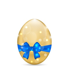Easter paschal egg with blue bow isolated on white vector image