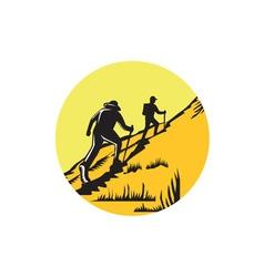 Hikers hiking up steep trail circle woodcut vector