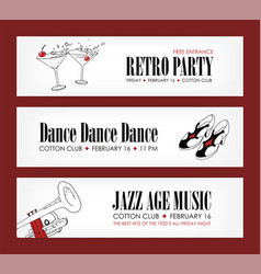 set of banner templates with cocktails vintage vector image vector image
