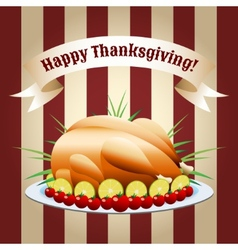 symbol of thanksgiving day fried turkey vector image vector image