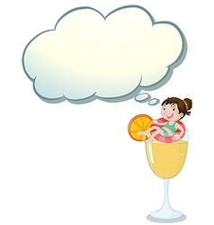 A big glass of orange juice with a smiling girl vector image vector image